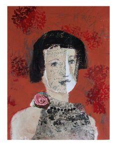 original mixed media  woman RITA portrait figurative. marina p