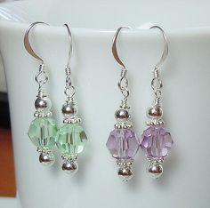 Swarovski Crystal and Silver Beaded Earrings