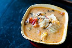 Skip the rice and this would make a wonderful P3 hCG dish - Brazilian moqueca, a fish stew made with firm white fish, onions, garlic, bell peppers, tomatoes, cilantro, and coconut milk.