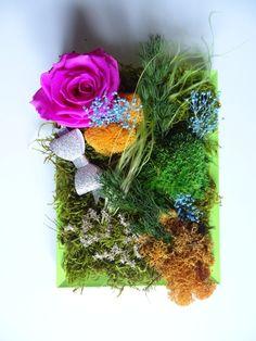 un petit cades stabilisé; sans le moindre entretien Rose Stabilisée, Decoration, Floral Wreath, Wreaths, Vegetables, Home Decor, Frames, Interview, Board