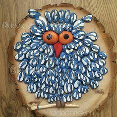 """Gorgeous great job.  Credit :  @degerlievim -  Baykuş tablo / El yapımı """"Canlı Taş"""" (Sipariş hazır)  . #owl #owls #owllove"""