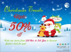 What does Santa have in store for you? Visit The Nature's Co. stores and get unto 50% off.