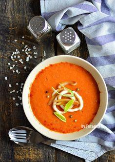 Суп-пюре из запеченных овощей с кальмаром