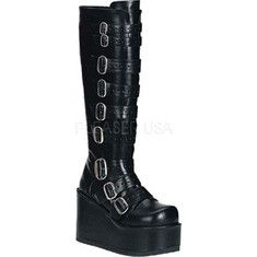 Demonia Concord 108 - Black PU with FREE Shipping & Returns. Cool platform boots featuring a high platform, a back zipper and multiple