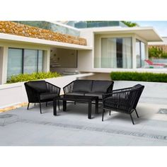 new Ideas for small front patio furniture outdoor spaces Patio Loveseat, House With Porch, Patio Seating, Small Patio, Outdoor Spaces, Outdoor Living, Outdoor Furniture Sets, Luxury Furniture, Garden Furniture