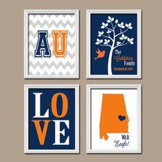 AU Auburn University Alabama College War Eagle Custom Family Monogram Initial LOVE Bird Tree Wedding Set of 4 Prints Wall ART Graduation