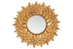 Layered Leaves Wall Mirror, Gold Leaf