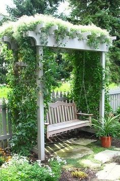 Swing bench with trellis looks great in any garden, pretty sure I could make it work, even in my tiny back yard.