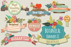 Botanical Banners II Graphics Combine the new flowers with the badgets and banners and create lovely banners, headers, invitations by Mia Charro Design Crafts, Diy Crafts, Decoupage, Object Photography, Stationary Design, Doodle Designs, Free Graphics, Blog Design, Art Design