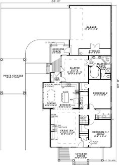 Dormers and Charming Port Cochere - 59280ND floor plan - Main Level