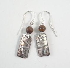 Tiger Iron & Sterling Silver Earrings by Ella & Tess, $34.00