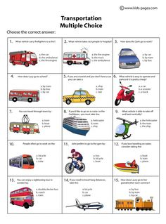 Kids Pages - Transportation Multiple Choice