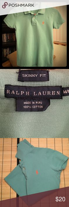 Ralph Lauren PoloMedSkinny FitSea Foam Green Great Condition Ralph Lauren Polo Shirt  Sea Foam Green with Bright Orange Polo Logo  Skinny Fit Medium (Will Fit Snug/More Like a Small)  Additional Color Available  See Closet Listing!! Ralph Lauren Tops Tees - Short Sleeve