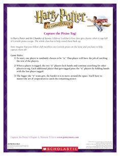 GAME: Capture the Cornish Pixies Tag! Download by clicking the image above! For more activities visit www.scholastic.com/hpread #HarryPotter #HPread