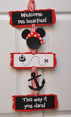 Pirate Mickey Mouse Door Sign Pirate Birthday by DesignsByDodi, $18.00