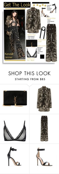 """""""Get The Look: Kendall Jenner"""" by hamaly ❤ liked on Polyvore featuring Yves Saint Laurent, Naeem Khan, Anine Bing, GetTheLook, StreetStyle, kendalljenner, embroidered and waystowear"""