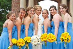 This...but opposite. (yellow for bride...white w/yellow centers for bridesmaids)?