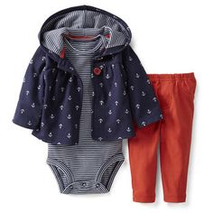 Carter's Baby Set, Baby Girls Cardigan, Bodysuit and Pants