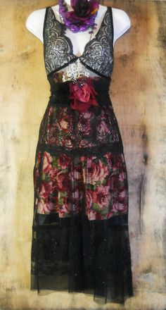 Black roses dress lace floral  boho  gypsy sparkle tiered  rose goth  medium  by vintage opulence on Etsy.