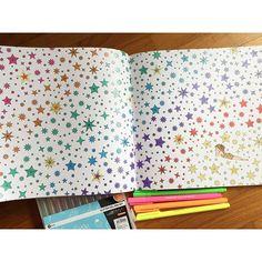 Instagram media ohsinchan - A tired girl in retro blouse amongst the glittery rainbow stars #thetimegardencoloringbook #thetimegarden #dariasong #时间的旅程
