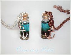 Ocean in a Bottle Necklace - Nautical Jewelry - Tiny Bottle on a Silver or Copper Chain door BottledStardust op Etsy https://www.etsy.com/nl/listing/187941946/ocean-in-a-bottle-necklace-nautical
