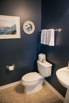 Deep, rich navy walls in Naval SW 6244. White accents with touches of tan and the palest hint of peach. This bathroom makes a statement: bold works.