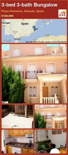 Bungalow for Sale in Playa Flamenca, Alicante, Spain with 3 bedrooms, 3 bathrooms - A Spanish Life Portugal, Built In Robes, Bungalows For Sale, Alicante Spain, Seville, Casablanca, Lisbon, Ground Floor, Madrid