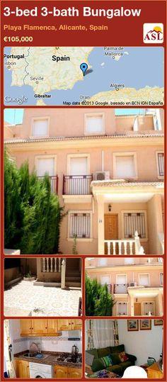 3-bed 3-bath Bungalow in Playa Flamenca, Alicante, Spain ►€105,000 #PropertyForSaleInSpain