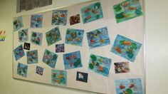 Koi fish in a pond, model magic clay painted with watercolor, watercolor and tissue paper collage, gr. 5TAP