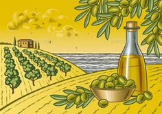Buy Olive Harvest Landscape by iatsun on GraphicRiver. Retro landscape with olive harvest in woodcut style. Fully editable vector illustration with clipping mask.