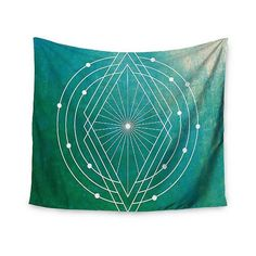 Teal Geometric Matt Eklund Atlantis Wall Tapestry ($45) ❤ liked on Polyvore featuring home, home decor, wall art, teal cascade, teal home accessories, mounted wall art, geometric wall art, geometric home decor and interior wall decor