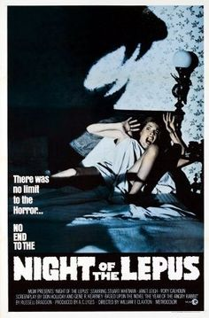 Night of the Lepus Night of the Lepus, also known as Rabbits, is a 1972 American science fiction horror film based on the 1964 sci. Best Horror Movies, Classic Horror Movies, Horror Films, Scary Movies, Good Movies, Sf Movies, Famous Movies, Halloween Movies, Horror Art