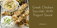 Greek Chicken Souvlaki Skewers with Yogurt Sauce for the 17 Day Diet