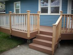 exterior stairs railings build outdoor stair railing how to outside steps and a deck lowes code california Deck Stair Railing, Deck Railing Design, Porch Stairs, Exterior Stairs, Outdoor Stairs, Deck Design, Railing Ideas, Porch Handrails, Balustrade Design