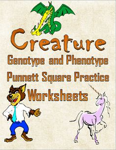 Creature Genotype and Phenotype Punnett Square Practice Worksheets 7th Grade Science, Science Curriculum, Science Resources, Middle School Science, Science Education, Teaching Science, Science For Kids, Science Ideas, Activities