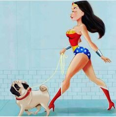 Of course wonder woman had a pug....