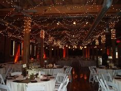 wedding reception venue, with sparkling lights all around! for my stary night wedding