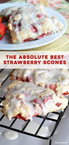 These Strawberry Scones are tender and flaky, with fresh strawberries throughout and a dreamy glaze! Perfect for a weekend brunch or get together. You don't need to be a professional baker to make this homemade scones recipe – it's so easy with just a few Strawberry Bread Recipes, Strawberry Scones, Strawberry Breakfast, Strawberry Shortcake, Recipes With Fresh Strawberries, Fresh Strawberry Desserts, Strawberry Glaze, Mini Desserts, Delicious Desserts