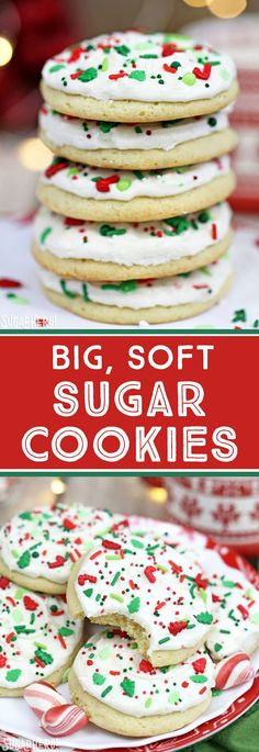 Big Soft Sugar Cookies - like you get from a bakery, but WAY better! Light and fluffy sugar cookies topped with delicious vanilla frosting! | From SugarHero.com