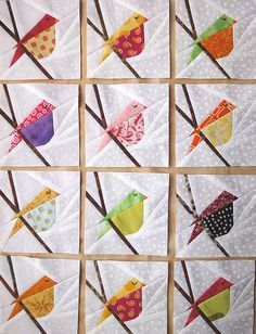 Sewing Block Quilts bitty block - Birdies - Group 2 - would love to do this with all the Hawaiian cardinals - These are my birdies for Group Mini Quilts, Small Quilts, Quilting Projects, Quilting Designs, Vogel Quilt, Bird Quilt Blocks, Paper Pieced Quilt Patterns, Quilting Patterns, Quilt Modernen