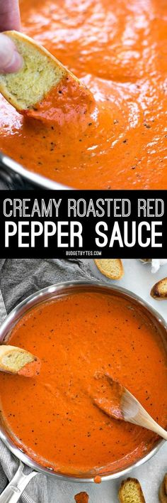 Creamy Roasted Red Pepper Sauce is a great alternative to tomato based sauces for pasta, pizzas, or just for dipping your favorite crusty bread. #dip #snacks #vegetarianrecipes #pasta #mediterranean #vegetarian #sidedish #partyfood #appetizer #sauce