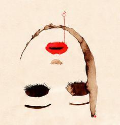 """Saatchi+Online+Artist+Noumeda+Carbone;+Mixed+Media,+""""P#4+portrait""""+#art"""