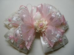 Pretty Pink Ivory Satin & Lace Hair Bow Unique Big Large Elegant Wedding Flower Girl Pageant Boutique Dressy Fancy Special Occassion by HareBizBows on Etsy https://www.etsy.com/listing/126039297/pretty-pink-ivory-satin-lace-hair-bow