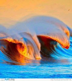 Breaking Wave Mixed With Sunset - Asturias, Spain