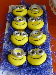 Love these cupcakes at a Minions Birthday Party!  See more party ideas at CatchMyParty.com!  #partyideas #minion