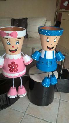 Flower Pot Art, Flower Pot Design, Flower Pot Crafts, Diy Home Decor Projects, Diy Home Crafts, Diy Projects To Try, Flower Pot People, Clay Pot People, Clay Pot Projects