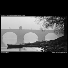 Karlův most a loďky (2628-4) • Praha, leden 1964 • | černobílá fotografie, Vltava, břeh, mlha, kontury soch, loďky, větvoví |•|black and white photograph, Prague|