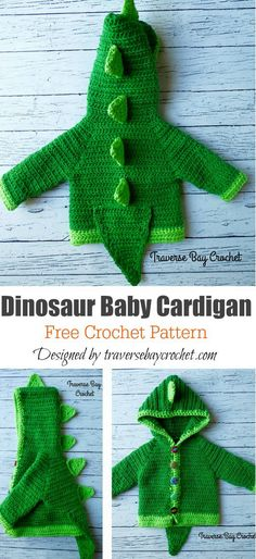 Dinosaur Hooded Sweater with Spikes Free Crochet Pattern - Crochet - Dinosaur Hooded Sweater with Spikes Free Crochet Pattern Dinosaur Baby Cardigan Free Crochet Pattern Crochet Dinosaur Patterns, Baby Patterns, Knitting Patterns Baby, Crochet Baby Cardigan Free Pattern, Pull Crochet, Free Crochet, Crotchet, Crochet Baby Sweaters, Baby Knitting