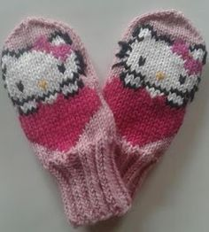 Halusin vielä jatkaa tuolla silmukoiden jäljittelyllä ja tehdä jotakin tosi suloista. Hello Kitty on aiheena juuri sellainen. Tein lapaset... Baby Mittens, Knit Mittens, Knitted Gloves, Knitting Socks, Baby Knitting, Mittens Pattern, Cat Pattern, Kids Patterns, Knitting Patterns