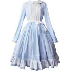 Alice In Wonderland Dress Long Sleeve Peter Pan Collar  Embroidery Empire Summer Dress Cute Lolita Ball Gown Dress